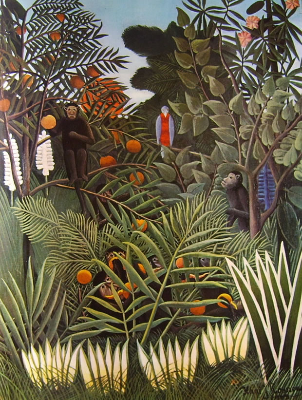 Giungla con scimmie che mangiano arance di rousseau il for Come costruire una palestra nella giungla