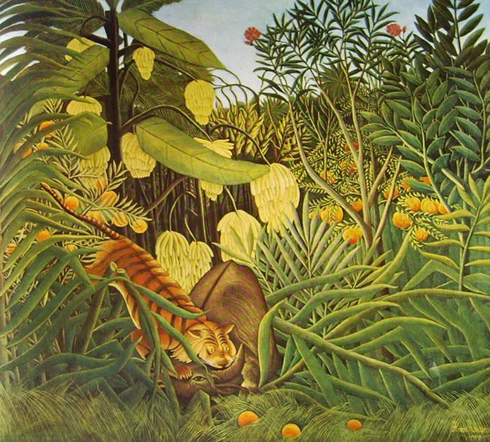 Rousseau il Doganiere: Bufalo assalito da una tigre