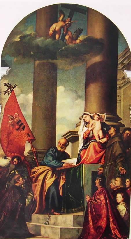 Tiziano: Sacra conversazione con i donatori Pesaro (Pala di Pesaro)