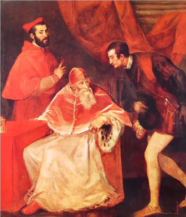 Tiziano: Paolo terzo e i nipoti Alessandro e Ottavio Farnese