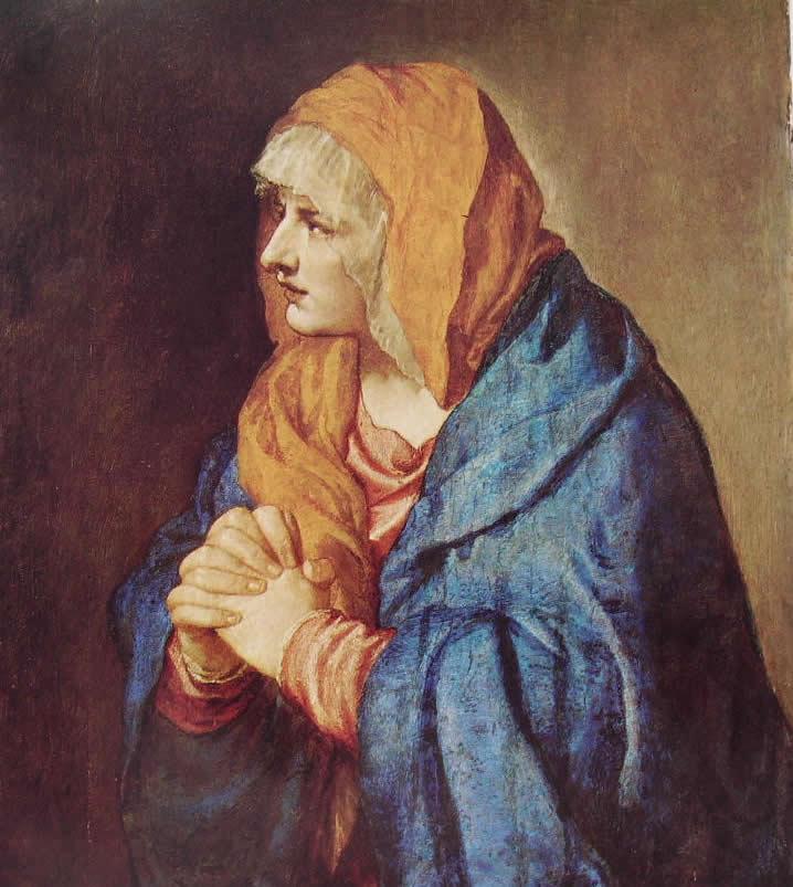 Tiziano: L'Addolorata a mani giunte