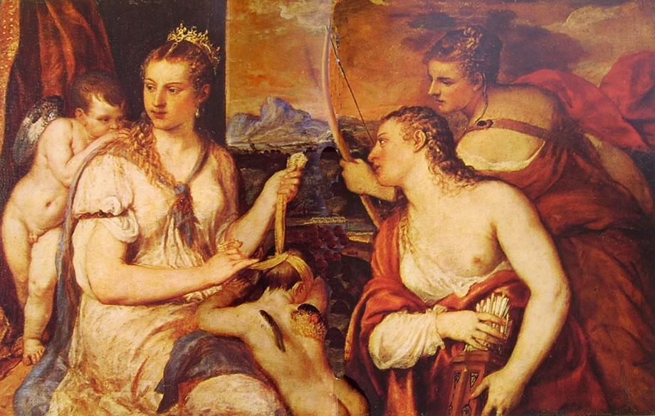 Tiziano: Venere che benda Amore