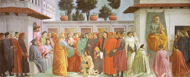 Filippino Lippi: Resurrezione del figlio di Teofilo e san Pietro in cattedra