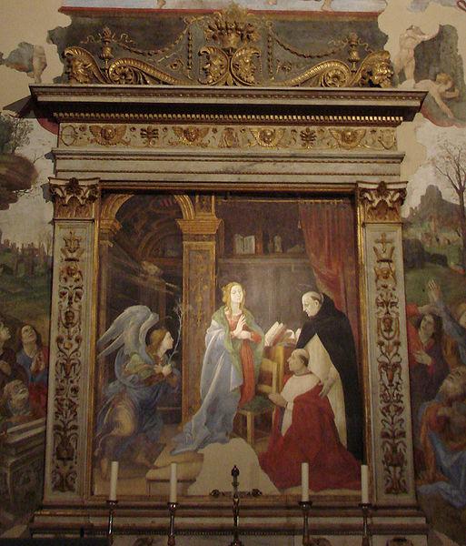 Filippino Lippi -Cappella Carafa: Annunciazione col committente