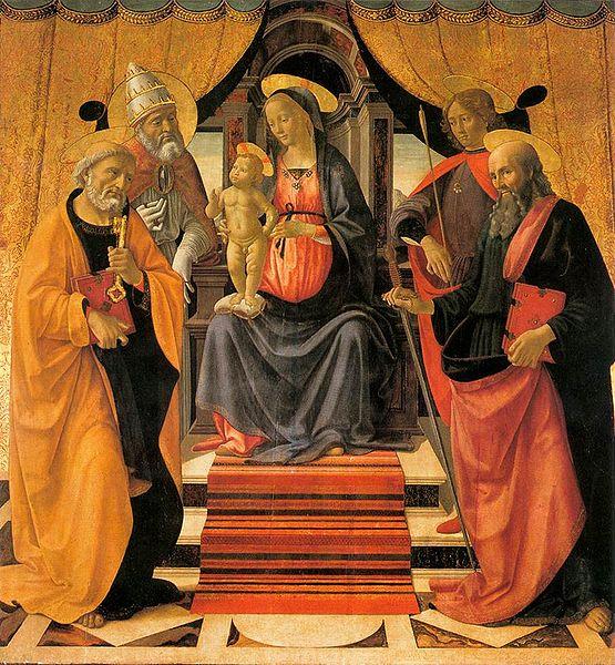 Domenico Ghirlandaio: Madonna in trono col Bambino e santi