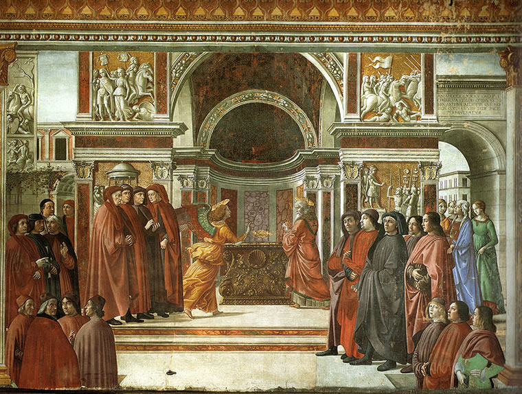 Domenico Ghirlandaio: Apparizione dell'angelo a Zaccaria