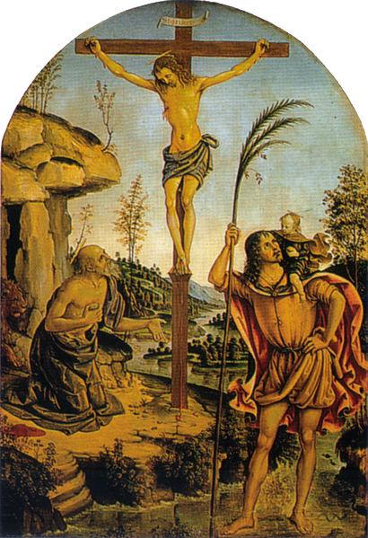 Crocifissione con san Girolamo e san Cristoforo