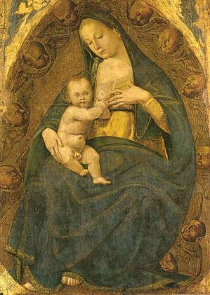 Stendardo della Flagellazione: Madonna del latte in gloria