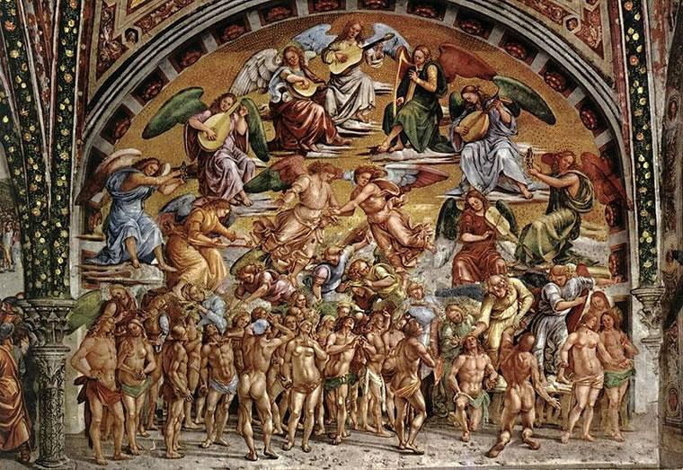 """Luca Signorelli: """"Storie degli ultimi giorni"""" - Beati in Paradiso."""