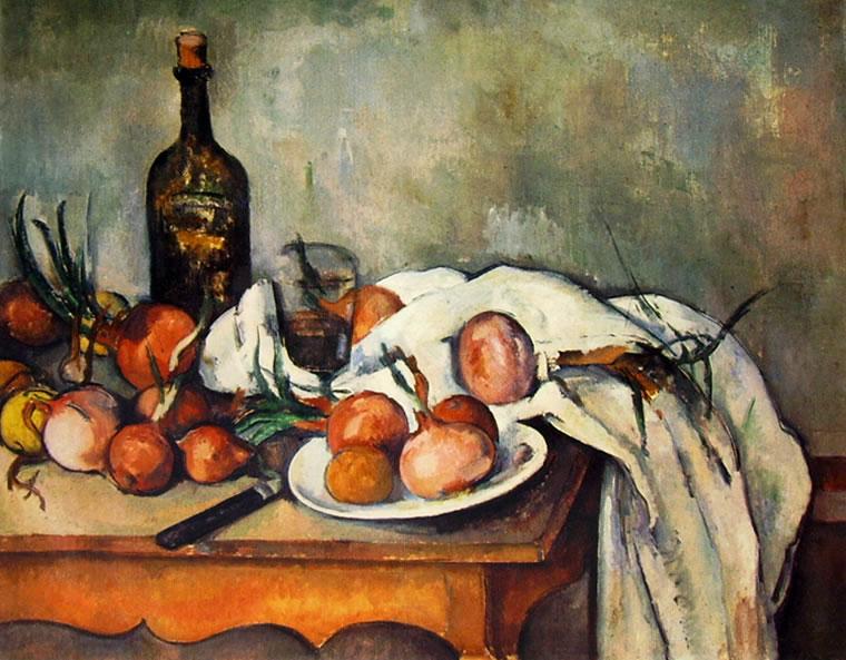 Paul Cezanne: Natura morta con cipolle bottiglia bicchiere e piatto