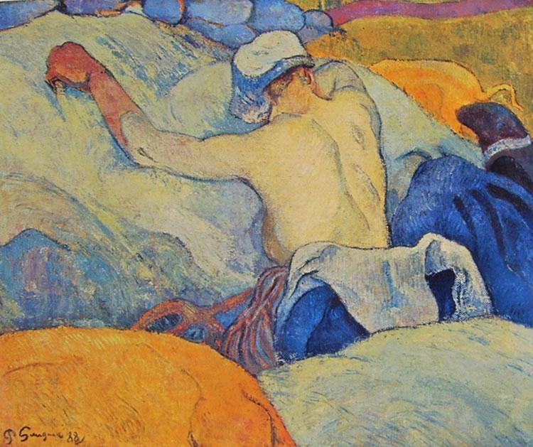 Donna bretone a torso nudo