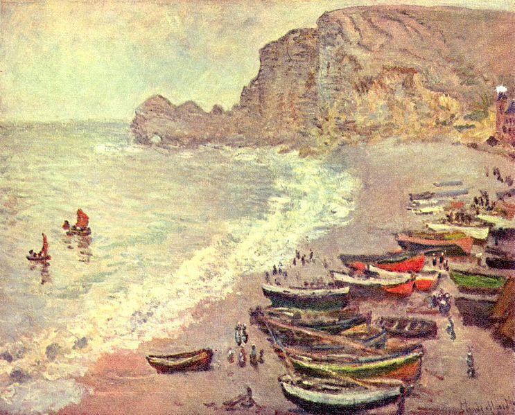 Barche sulla spiaggia di Étretat