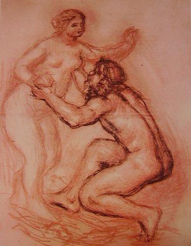 Renoir - Il Rodano e la Saona, tecnica a carboncino, gesso bianco e sanguigna