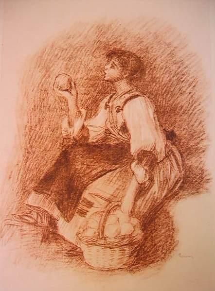 Renoir - La venditrice d'arance, tecnica a sanguigna