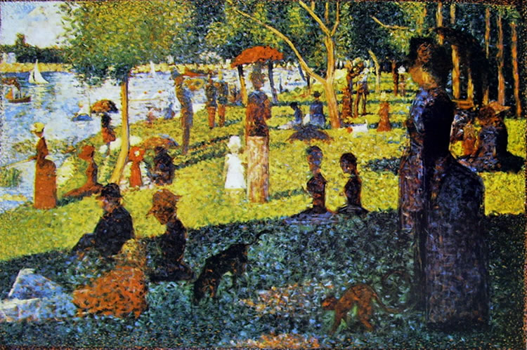 Georges-Pierre Seurat: Gruppi di figure e barche alla grande Jatte