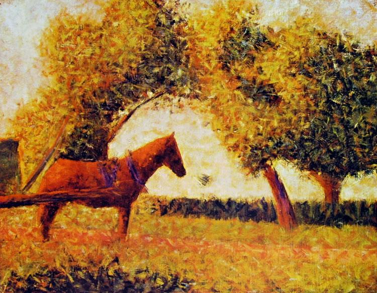 Georges Pierre Seurat-cavallo in un prato