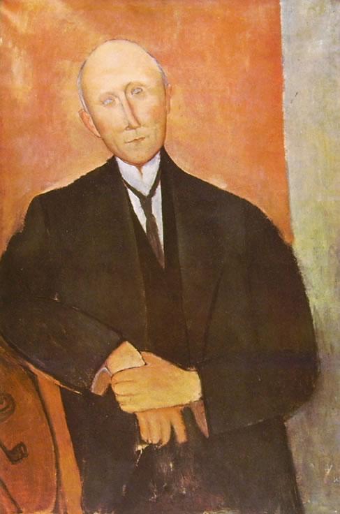 Amedeo Modigliani: Uomo seduto su fondo arancio