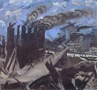 La fabbrica incendiata