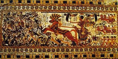 Cofanetto ligneo di Tutankhamon (part. della scena con la battaglia), Museo egizio del Cairo