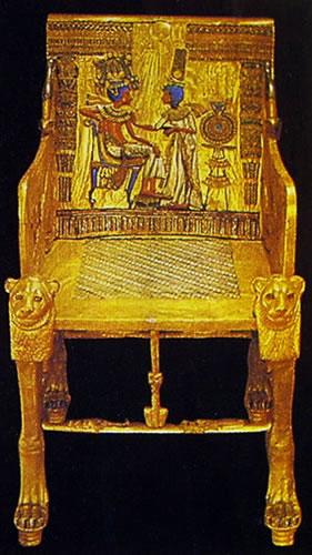 Trono di Tutankhamon in legno dorato e dipinto, Museo Egizio, Cairo