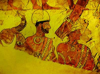 Scena scacrificale, particolare dell'affresco dal Palazzo di Mari, Museo di Aleppo