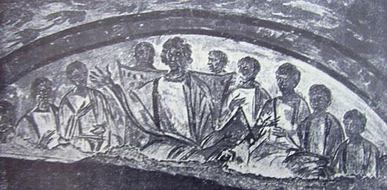 Cristo fra gli apostoli (Cimitero di Domitilla, Roma)