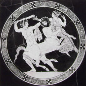 Aristofane: Particolare della coppa con Eracle, Nesso e Deianira