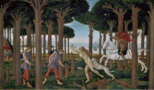 Botticelli - Storie di Nastagio degli onesti - nastagio incontra la donna e il cavaliere nella pineta di Ravenna