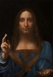 Leonardo da Vinci: Salvator mundi, realizzato con tecnica a olio su tavola intorno al 1499, dimensioni 66 x 46 cm., custodito in una collezione privata.