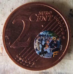 Stefano Busonero: Riproduzione del Bal au Mouline de la Galette dentro il mappamondo della moneta da due centesimi.
