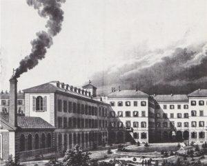 L. Viganotti: Litografia dello stabilimento per la fabbricazione dei bottoni di Ambrogio Binda