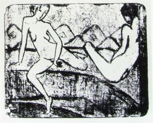 Otto Mueller: Due ragazze sedute sul sofà, anno 1912 circa, tecnica litografica, 21,5 x 26,8, Brücke-Museum, Berlino.