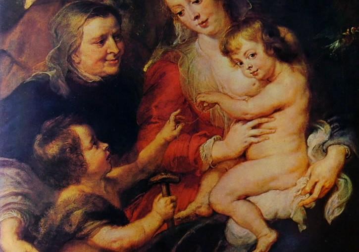 Pieter Paul Rubens: Sacra Famiglia , cm. 118 x 98, custodito al Wallraf - Richartz Museum di Colonia.