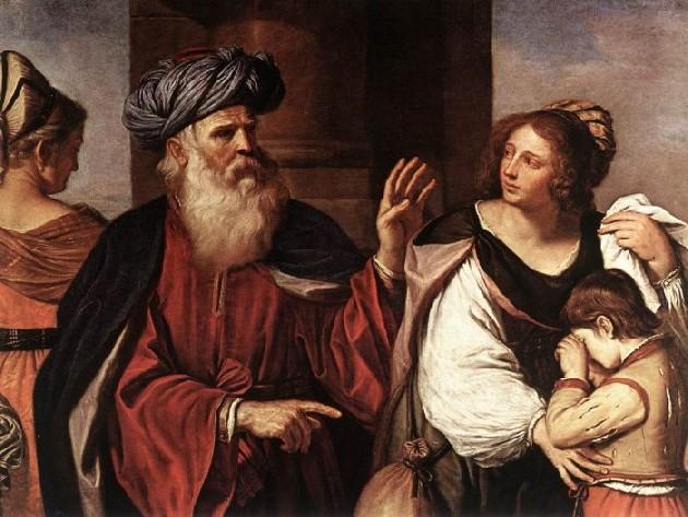 """Guercino: """"Abramo ripudia Agar e Ismaele"""", tecnica olio su tela, anno 1658, Pinacoteca di Brera"""