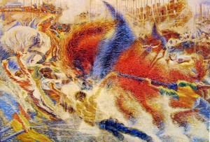 Umberto Boccioni: La città che sale, cm. 200 x 290,5 Museum of Modern Art (Guggenheim) of New York N.Y.
