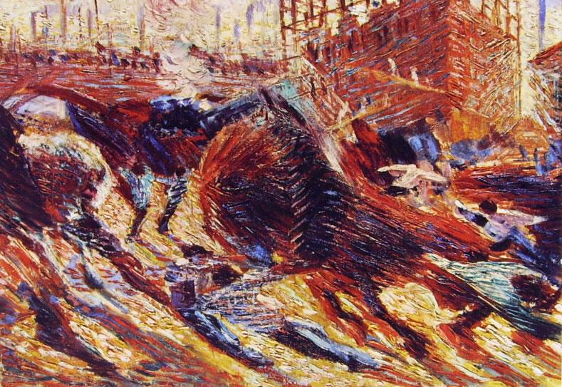 Umberto Boccioni: Abbozzo definitivo della Città che sale, cm. 33 x 47 Collezione Mattioli Milano