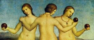 Raffaello Sanzio: Le tre Grazie, 1503-1504 olio su tavola, 17×17 cm, Museo Condé, Chantilly