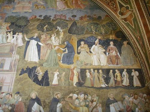 dettaglio della decorazione nel Cappellone degli Spagnoli