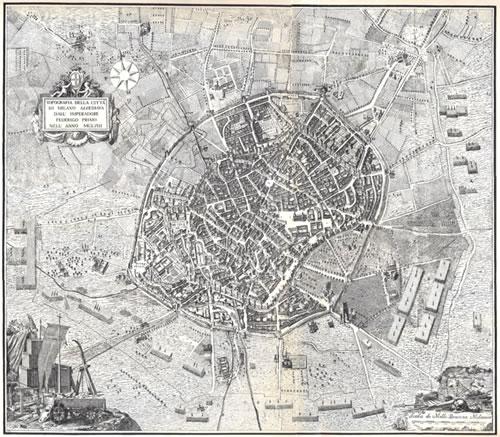 Domenico Aspari: Mappa topografica di Milano
