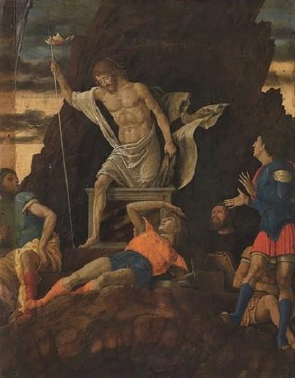 Andrea Mantegna: La Resurrezione di Cristo, 1500-1505, trmpera su tavola, 48×37 cm, Accademia Carrara, Bergamo
