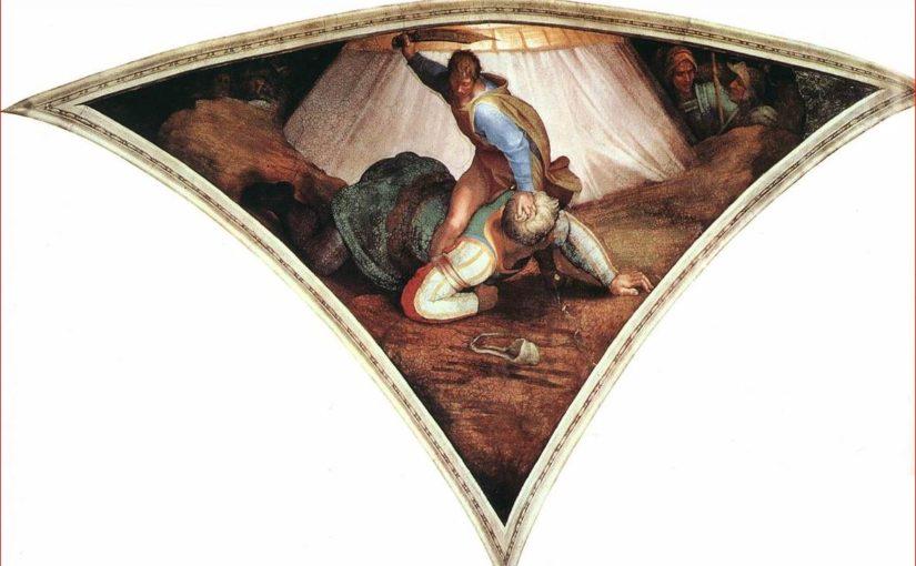 Michelangelo: David e Golia, volta della Cappella Sistina, anno 1509
