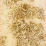 Michelangelo: disegno preparatorio, matita, 38,5 x 25,3 cm., British Museum