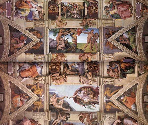 Michelangelo Buonarroti: La decorazione della volta della Cappella Sistina.