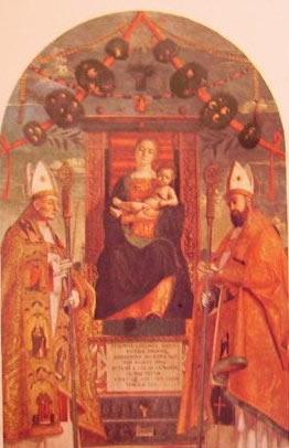 Madonna in trono fra i santi Zeno e nicola di Bari: Francesco Morone 1502, Pinacoteca di Brera milano