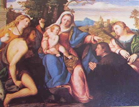 Sacra conversazione con un committente: Palma il Vecchio 1515 Castagnola Lugano, collezione Von Thyssen