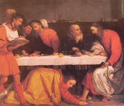 La cena in casa di Simone Fariseo 1523. Brescia al S. Giovanni Cappella del Sacramento