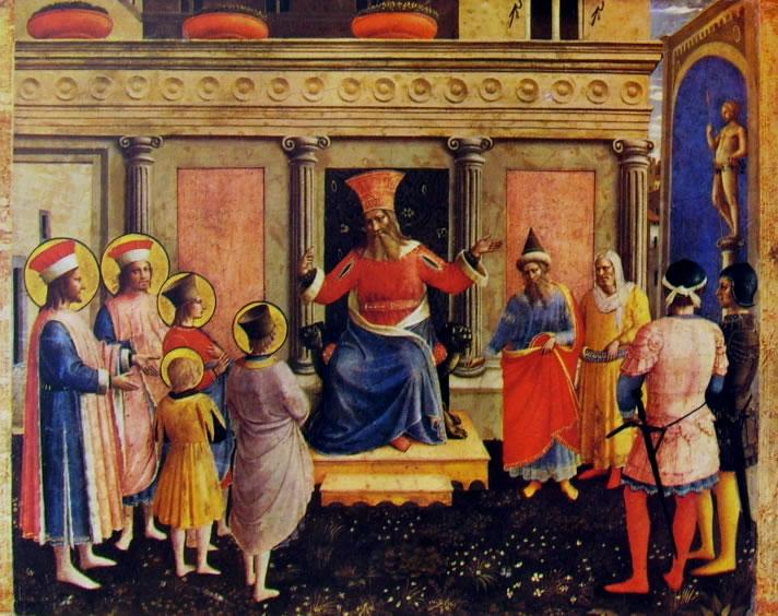 Beato Angelico: Pala di S. Marco - I Santi Cosma e Damiano davanti a Lisia