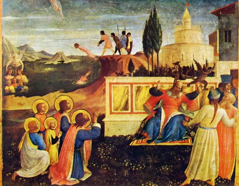 Beato Angelico: I Santi Cosma e Damiano salvati dall'annegamento, e Lisia liberato dai demoni