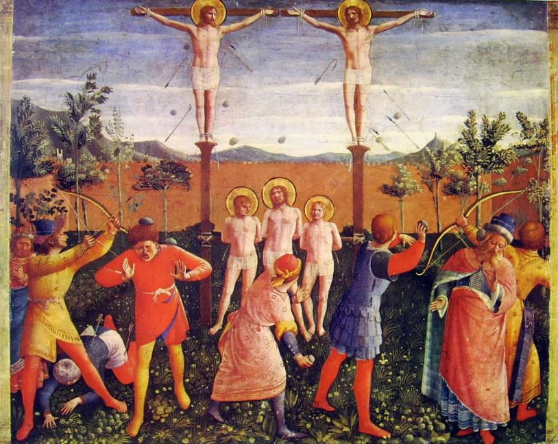Beato angelico: I Santi Cosma e Damiano vanamente crocifissi e lapidati