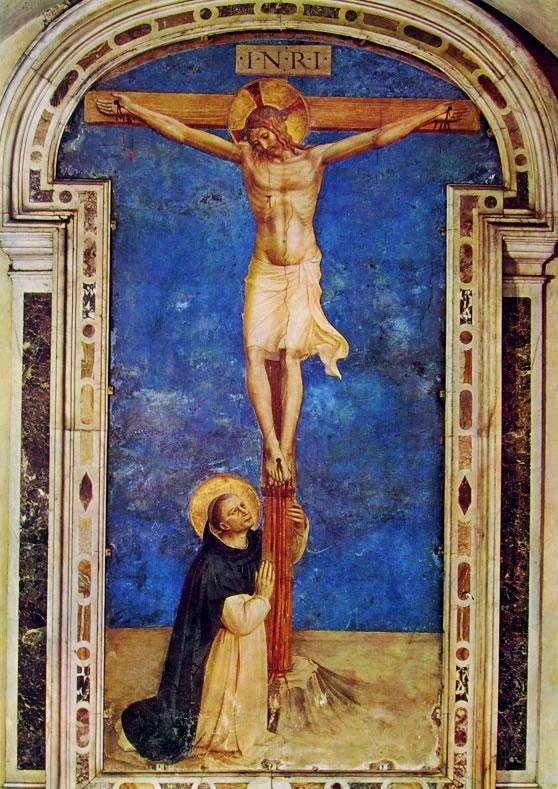 Beato Angelico:Affreschi di San Marco - San Domenico adorante il crocifisso